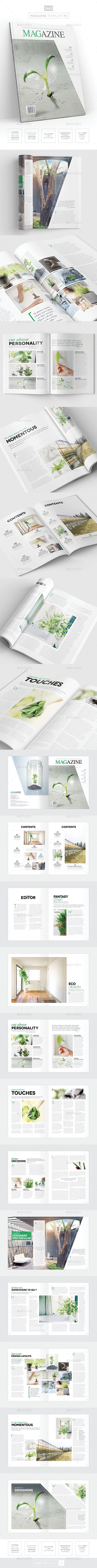 Magazine Template - InDesign 24 Page Layout V14 | Layouts, Template ...