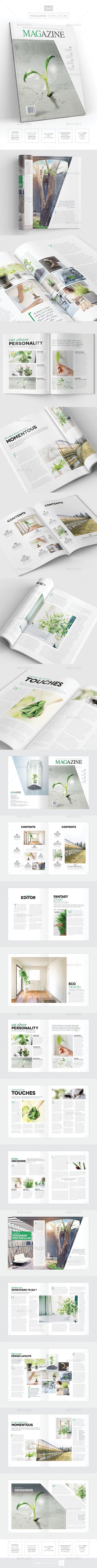 Magazine Template - InDesign 24 Page Layout V14 | Portadas de libros ...