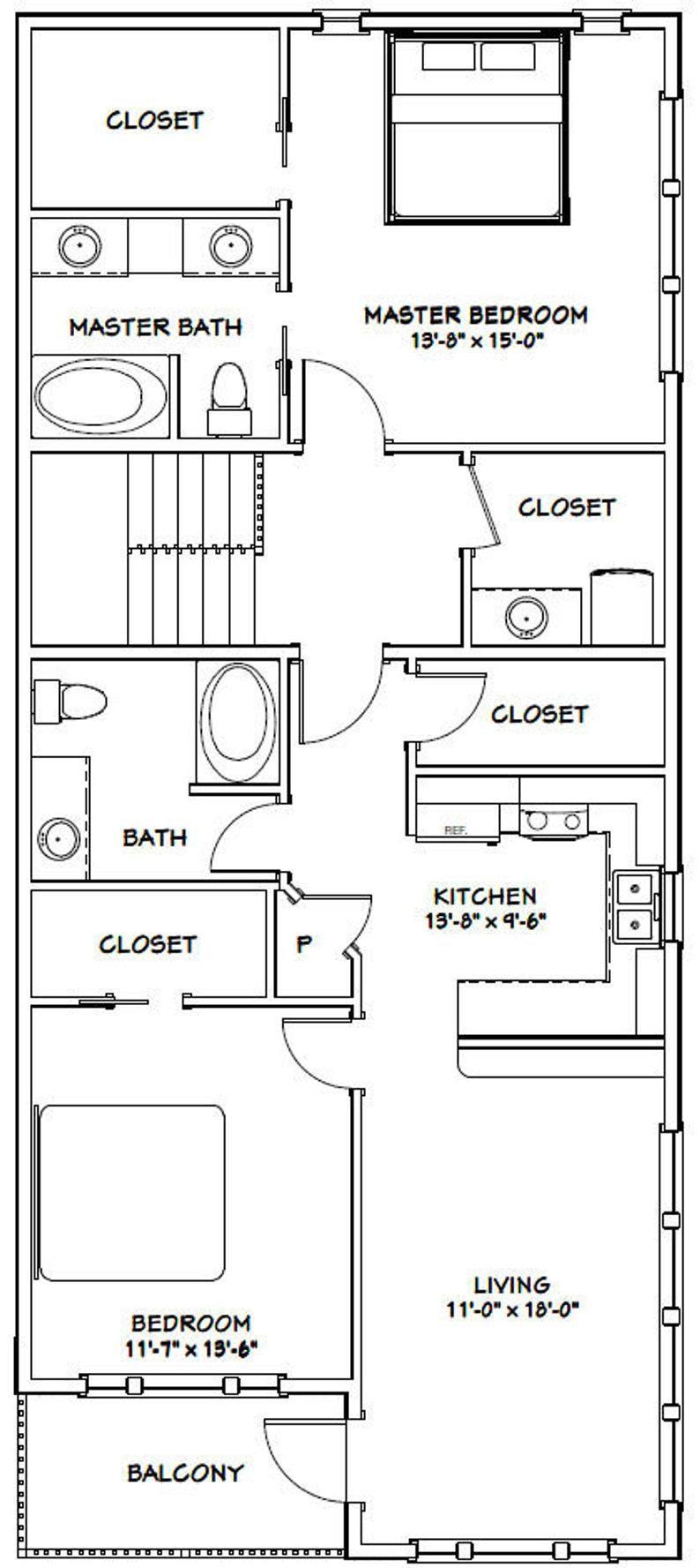 60x50 House 2 Bedroom 2 5 Bath 1694 Sq Ft Pdf Floor Etsy In 2020 Garage Plans With Loft Garage House Plans Floor Plans