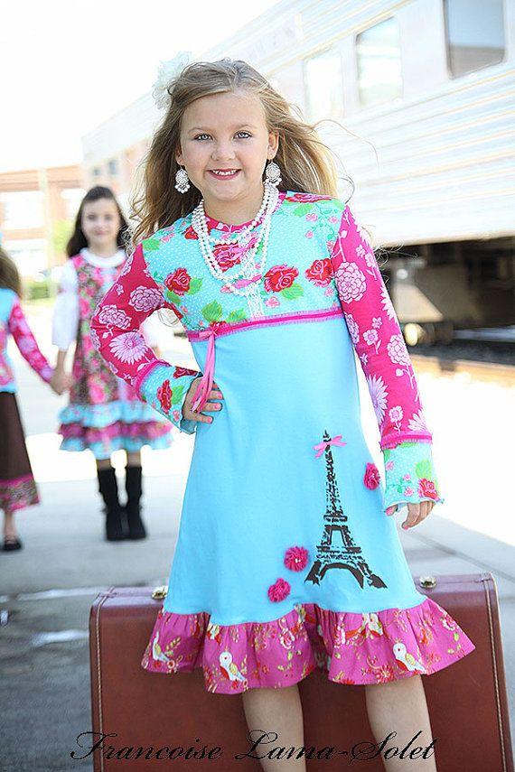 efe78d9217b Girls Dress Custom Paris Eiffel Tower long sleeve ruffled knit dress ...