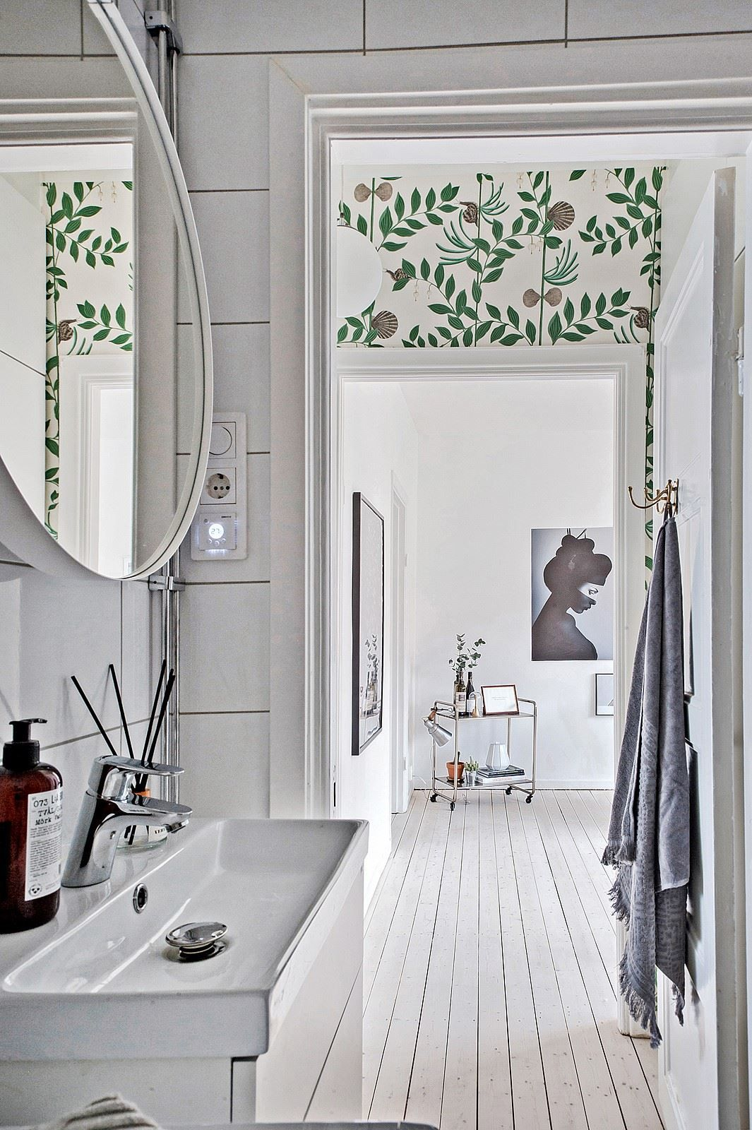 Room of the Week :: A Whimsical Wallpapered Hallway   Fresh green ...