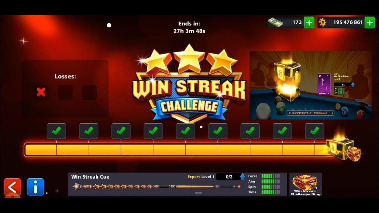 8 Ball Pool Win Streak Challenge And Win Streak Cue 8bp Pool Balls Streak Challenges