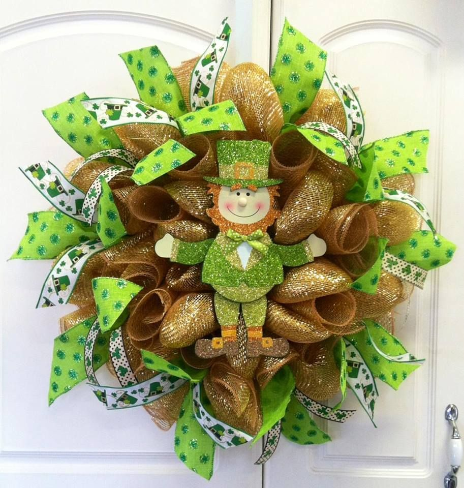 football team deco mesh wreaths SOLD St Patrick's Day