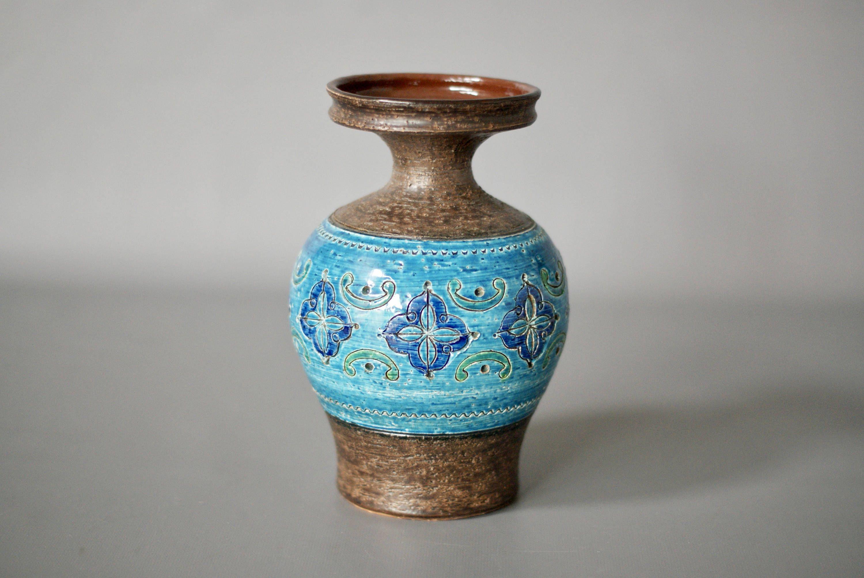 Bitossi Vase Bitossi Carta Fiorentina Series Aldo Londi 1963 Bitossi Blue Vase Rimini Blu Mid Century Italian Ceramic Vase