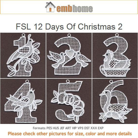 Fsl 12 Days Of Christmas Ornament Free Standing Lace Machine