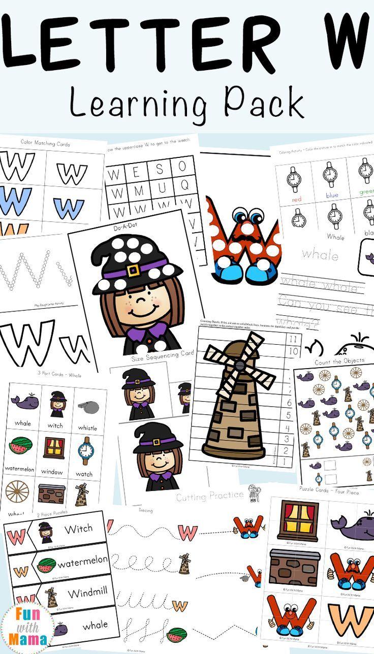 Letter W Worksheets For Preschool + Kindergarten   Fun With Mama  #alphabetletter #letterw #homeschool #preschool #worksheets
