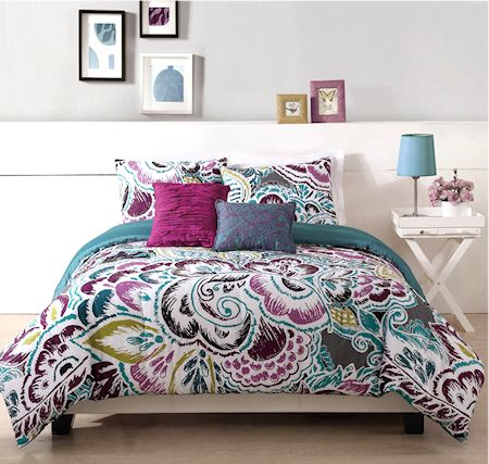 Modern Purple Blue Teen Girl Bedding King Comforter Set