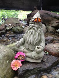 Monarch Butterfly rests on a meditating gnomes hat. Peace.