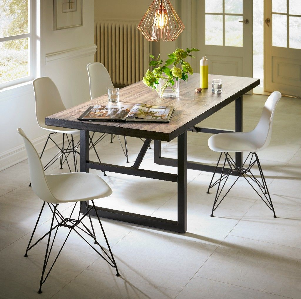 Drift Solid Wood Steel Rectangular Dining Table In Trail Modus