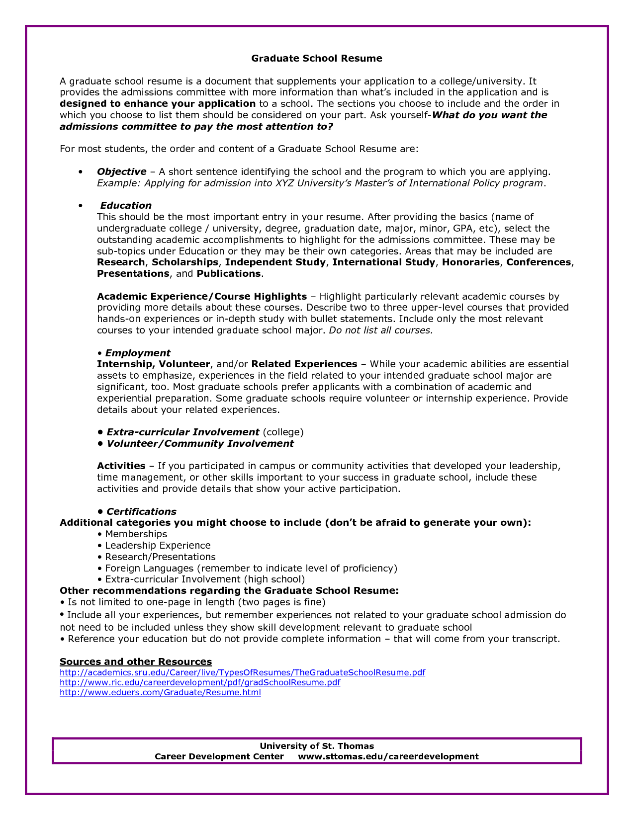 Resume College Graduate Graduate School Admissions Resume Sample  Httpwwwresumecareer