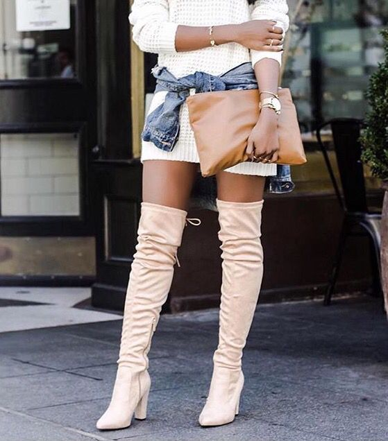 cream dress boots