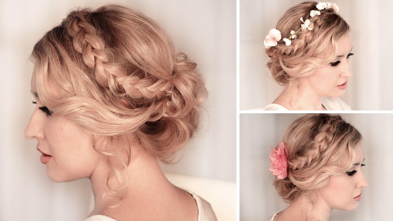 Braided updo hairstyle for mediumlong hair tutorial wedding