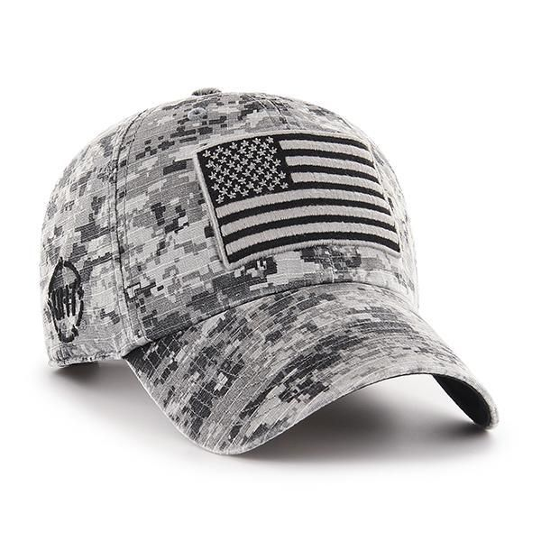 7b6039d2f Operation Hat Trick Gray Digital Camo 47 Brand Adjustable USA Flag Hat