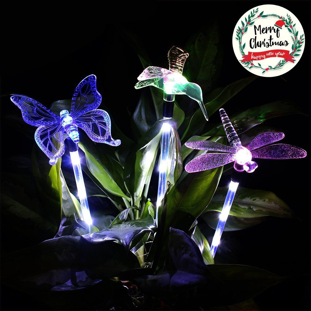 Universe Of Goods Buy 3 Pack Outdoor Solar Light Dragonfly Butterfly Bird Multi Color Changing Decorat Solar Lights Garden Outdoor Solar Lights Solar Lights