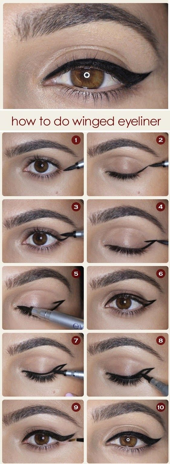 10 irresistible cat eyeliner tutorials for pretty girls eyeliner how to do winged eyeliner divine caroline i literally mess this up every baditri Image collections