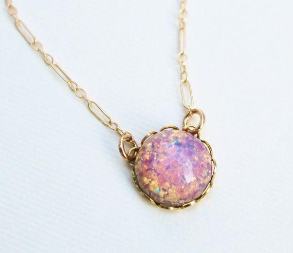 Vintage glass fire opal necklace 14k gold filled vintage glass vintage glass fire opal necklace 14k gold filled vintage glass opal colorful aloadofball Choice Image