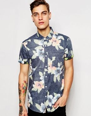 c0278a4d ASOS Floral Shirt In Short Sleeve | STYLE | Shirts, Mens fashion ...