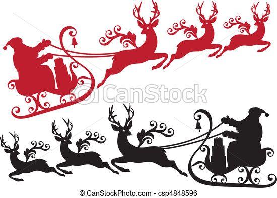 Weihnachtsmann Schlitten Rentier Schablone