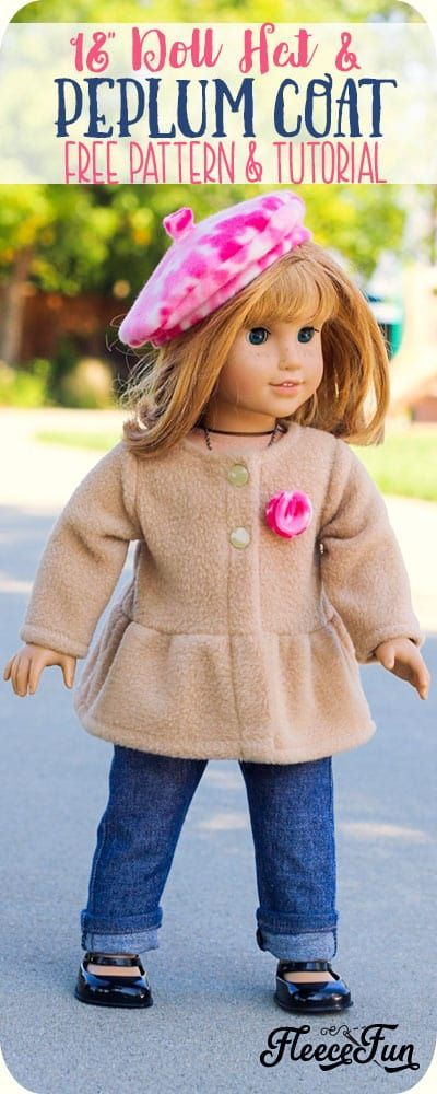 Adorable 18 Inch Doll Peplum Coat and Hat FREE Pattern! #americandolls