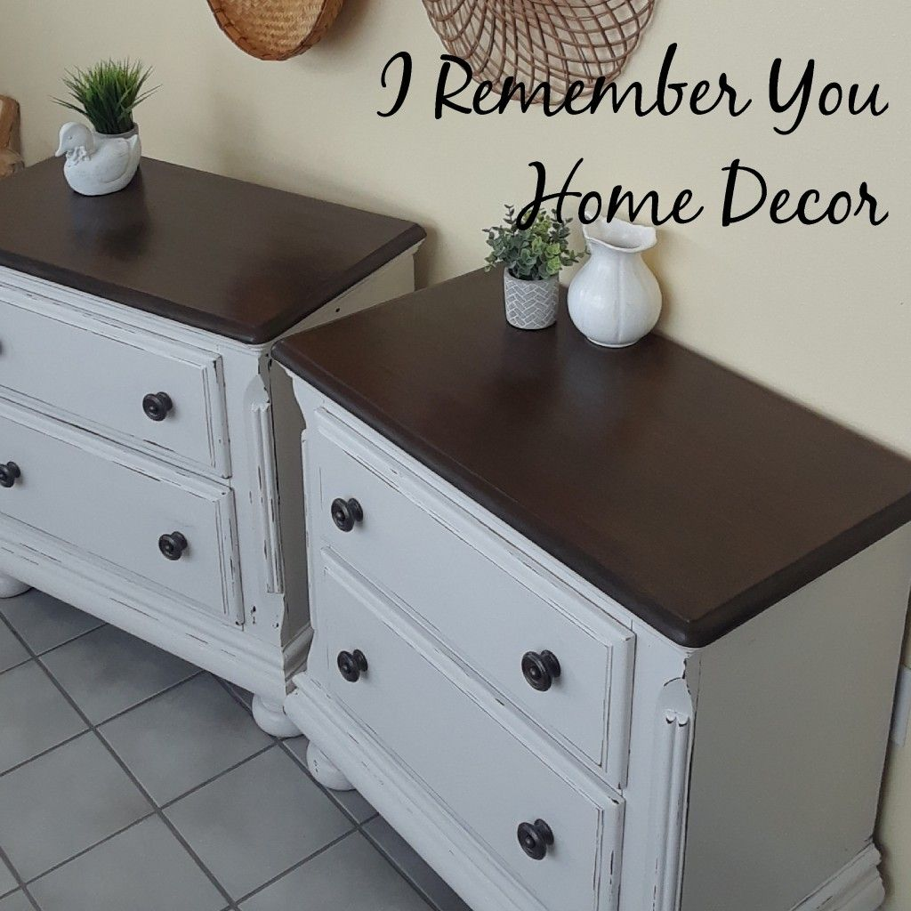 These Nightstands Were Black With Red Stained Tops I Sanded The Tops And Restrained I Use Nightstand Makeover Nightstand Makeover Chalk Paint Nightstand Redo