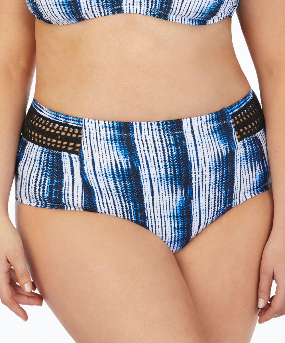 Blue & White Stripe Montego Bikini Bottoms - Plus