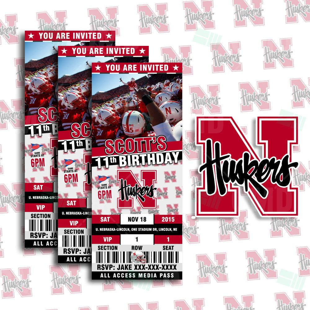 2 5x6 Nebraska Huskers Sports Party Invitation Tickets Invites Unl Football Birthday Theme Template By Sportsinvites