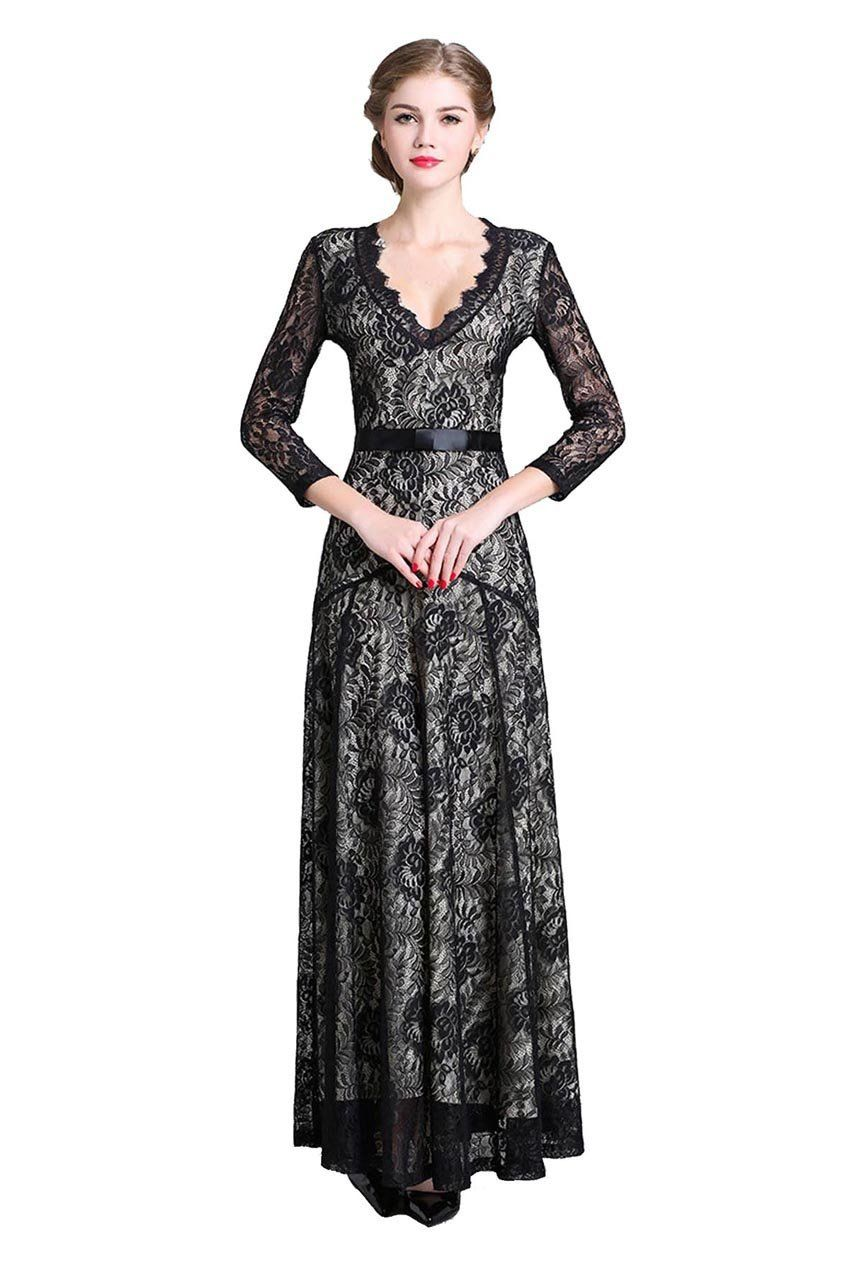 Denovelty women Lace Full length Maxi Bridesmaid Evening ...