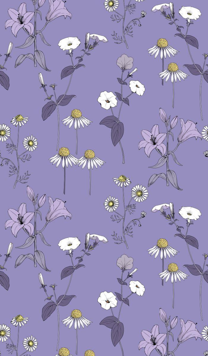Blue field flowers seamless pattern