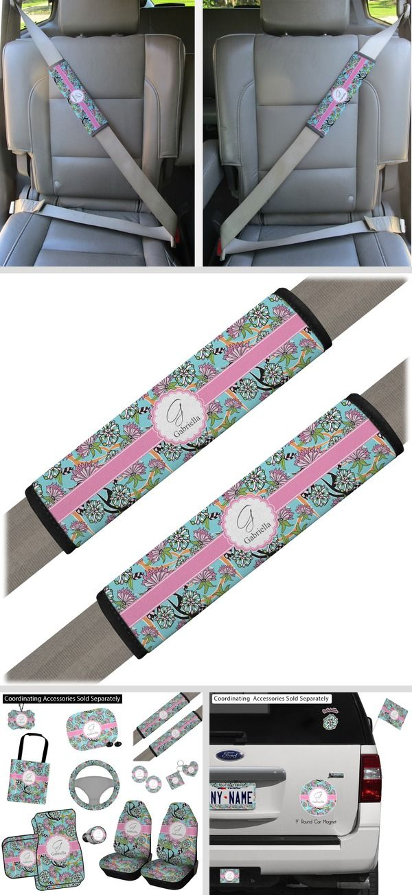 Summer Flowers Seat Belt Covers (Set of 2) (Personalized