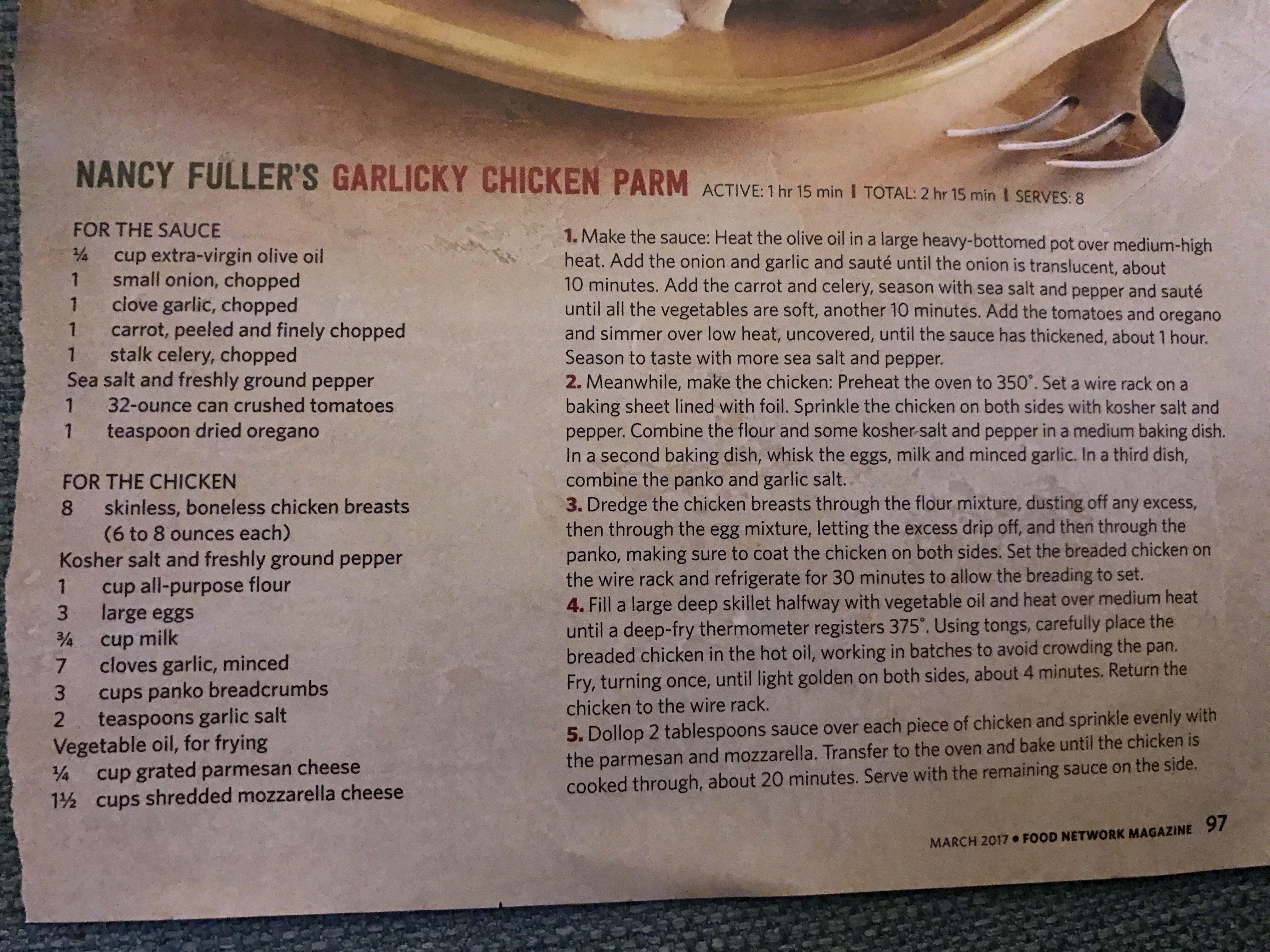 Nancy Fuller's Garlicky Chicken Parm Farmhouse rules