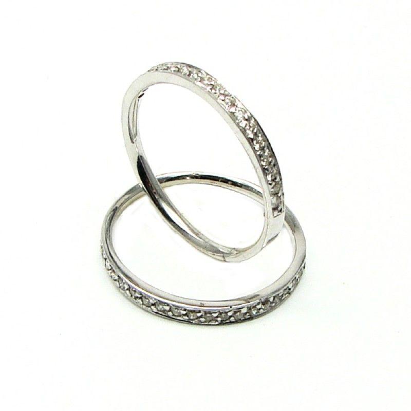 Aparador de Aliança Trabalhado com Diamantes em Ouro Branco 18k 750 Engagement Rings
