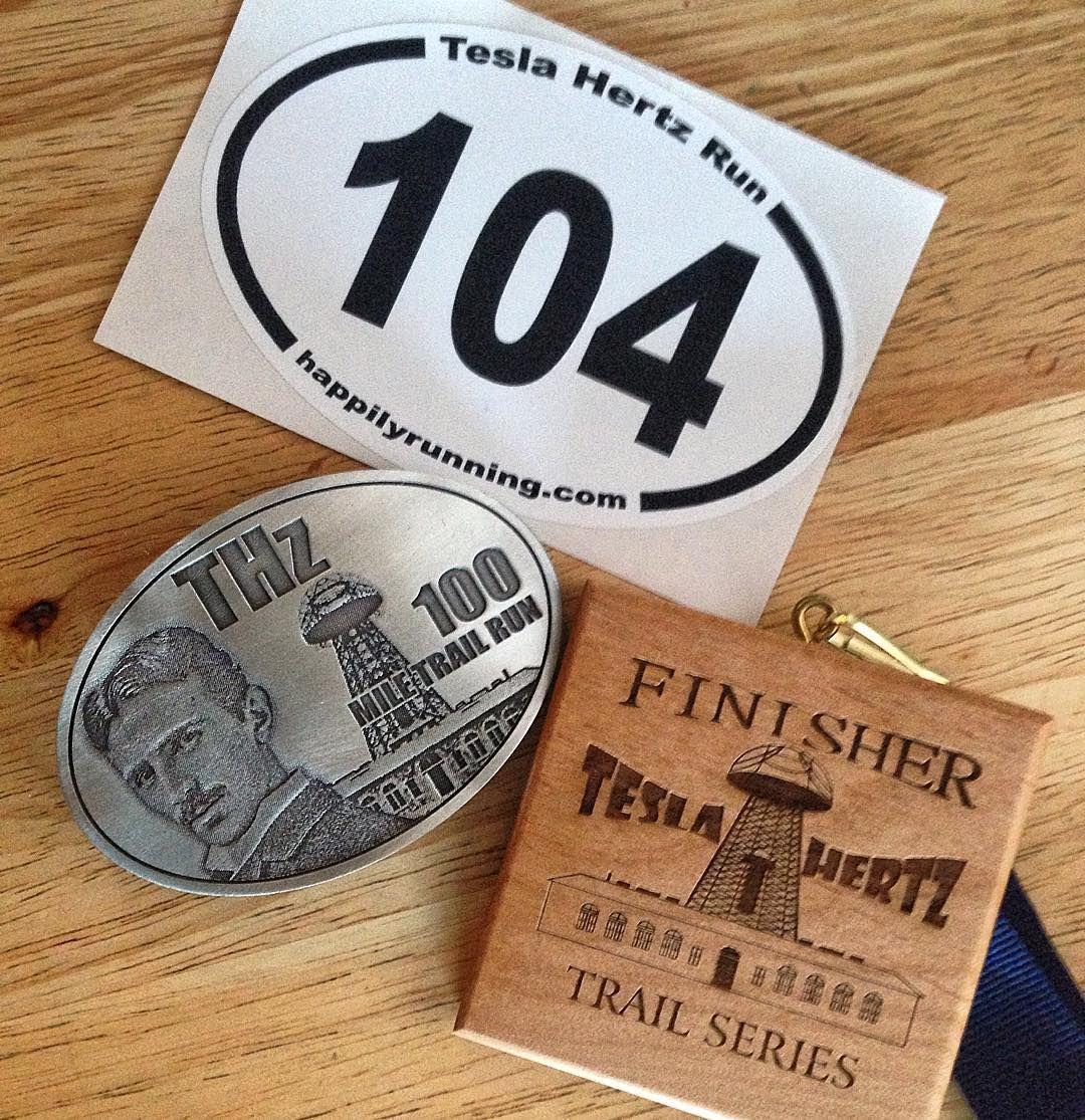 Belt Buckle Medal And Sticker For Completing The Tesla Hertz 100 Mile Trail Run In Long Island Pine Barrens Ultrarunning Ultramarathon Trailrunner