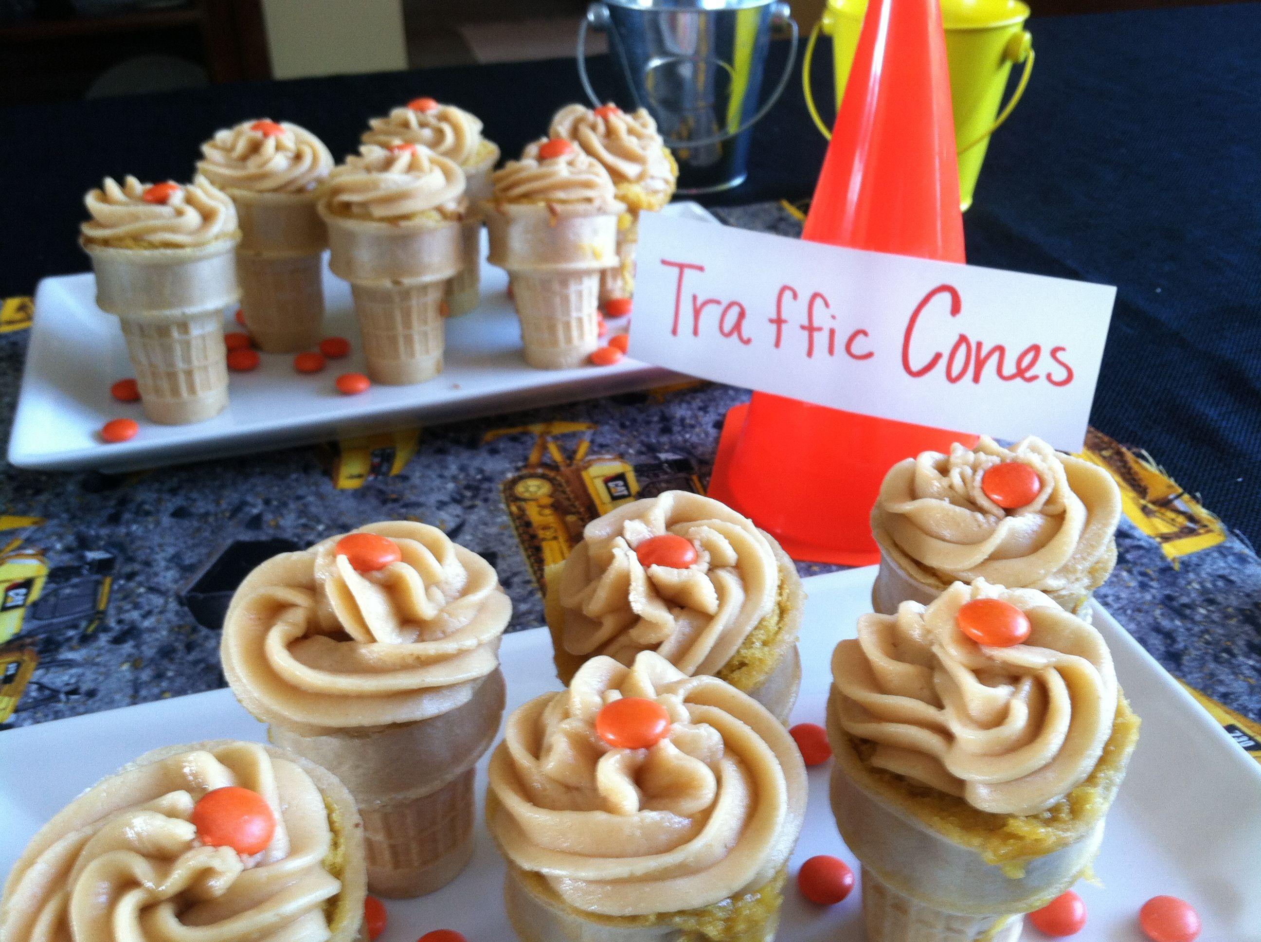 Traffic Cones Cupcakes Baked In Ice Cream Cones Construction