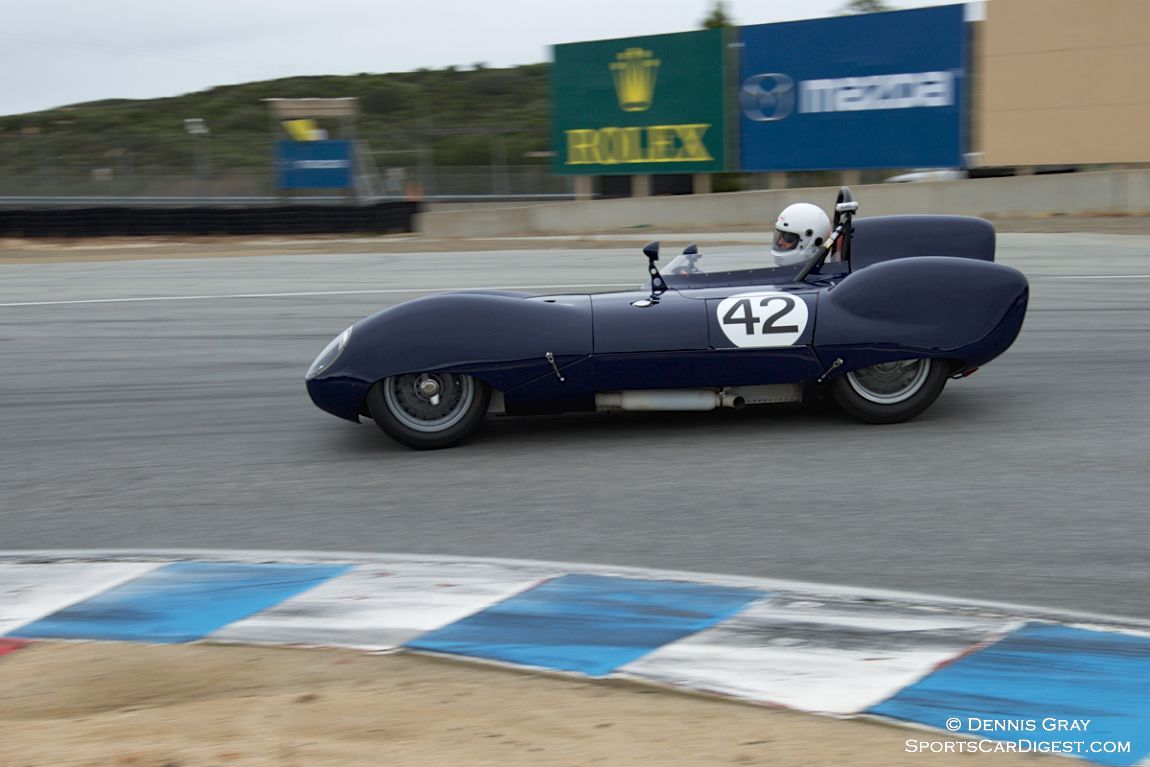 Arthur Cook's Lotus Eleven in turn eleven Sunday morning.