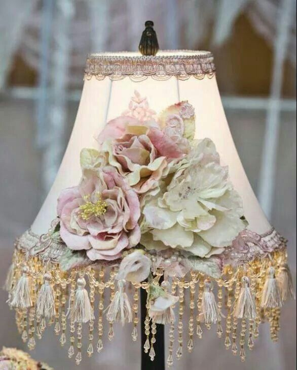 By cris figueired pinterest shabby cottage lampshade flowers and tassels aloadofball Gallery