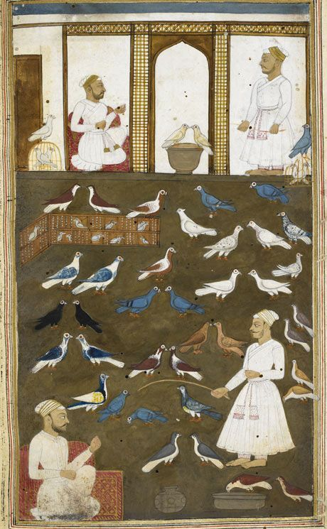 Mughal art. The Book of Pigeons, by Valih Musavi (1788).