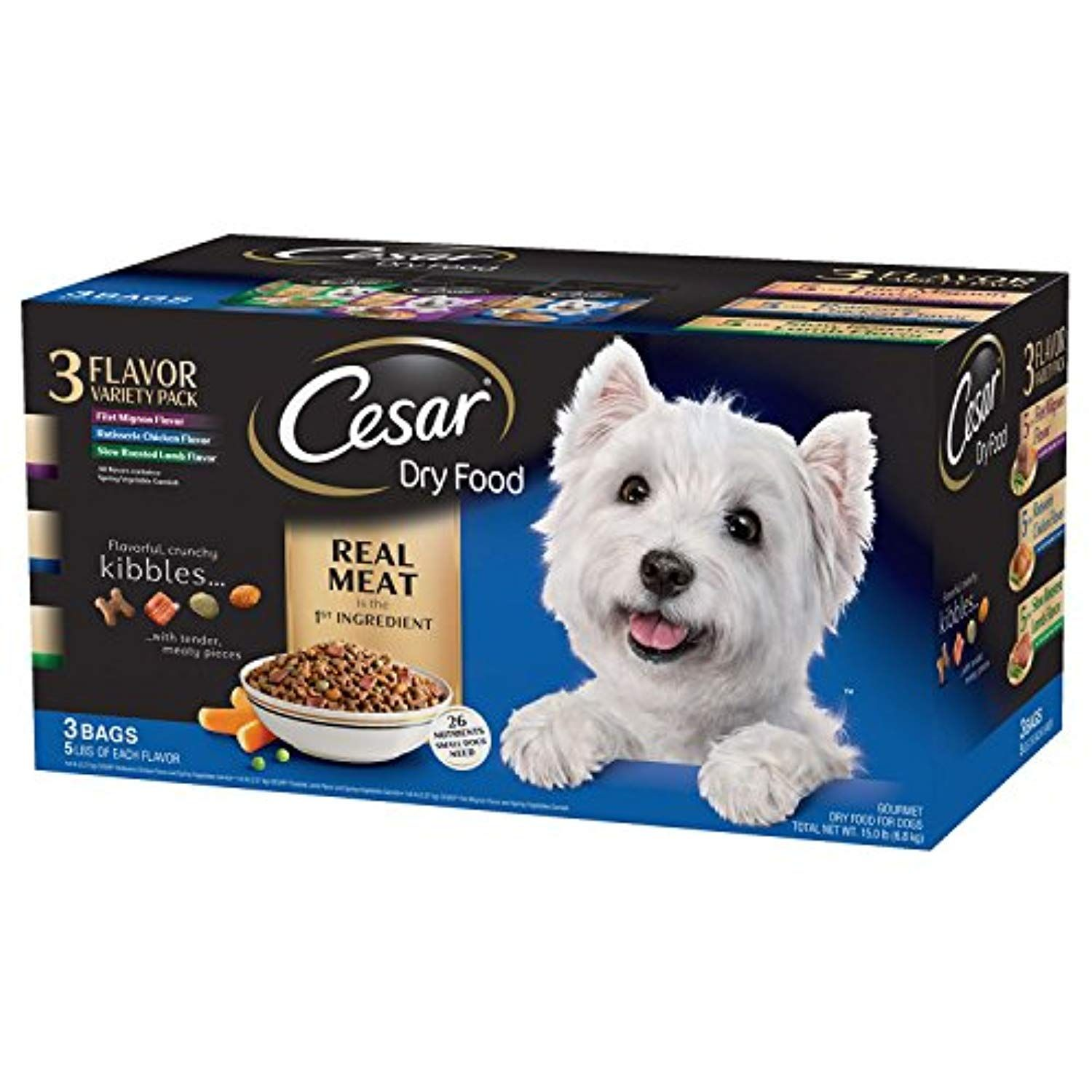 Cesar Dry Dog Food Variety Pack 15 Lbs 3 Flavors 5 Lb Bags