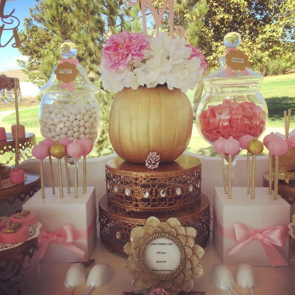 Fall pumpkin CandyDessert Cart Birthday Party Ideas Dessert table