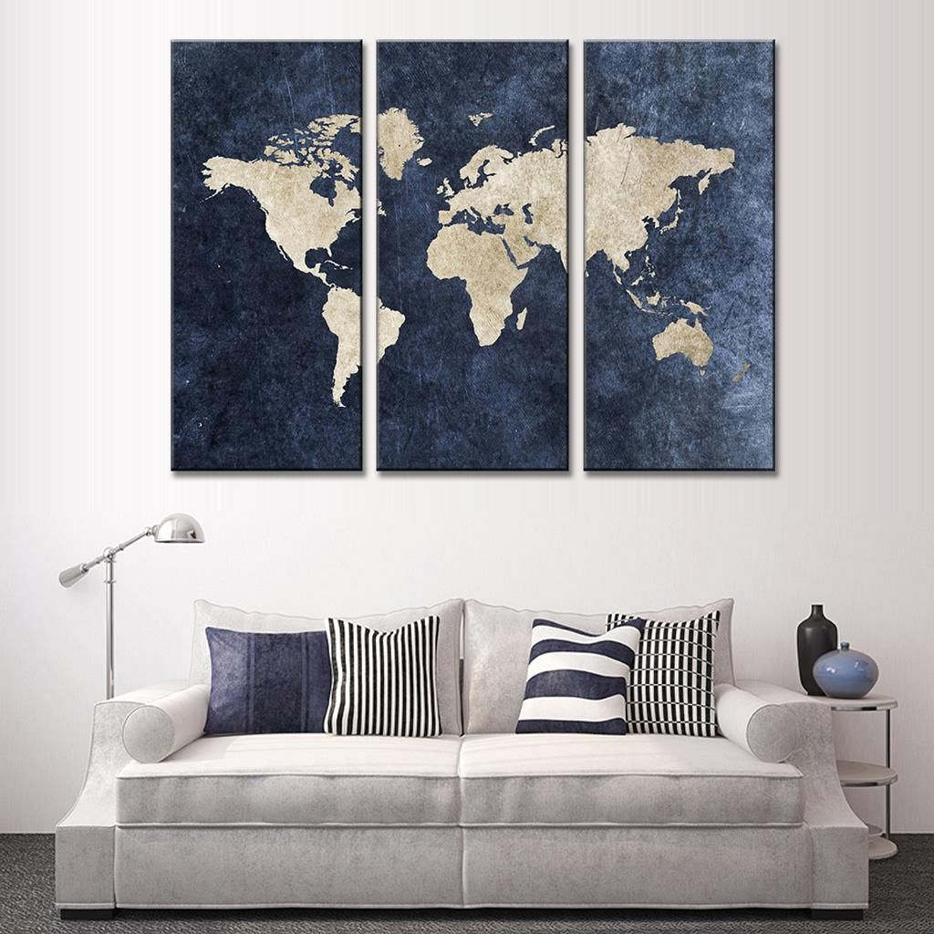 New 3 Pcs Set Abstract Navy Blue World Map Canvas Painting Modern