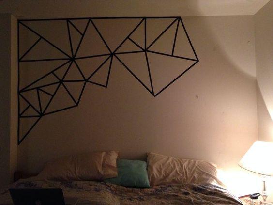 une t te de lit en masking tape diy et bricolage pinterest d coration murale salon. Black Bedroom Furniture Sets. Home Design Ideas