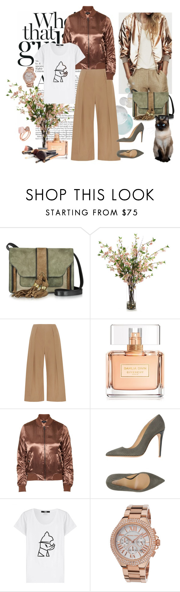 """""""Bomber"""" by murenochek ❤ liked on Polyvore featuring L'Autre Chose, Distinctive Designs, N°21, Givenchy, Topshop, Armani Collezioni, Karl Lagerfeld, Michael Kors and bomberjackets"""