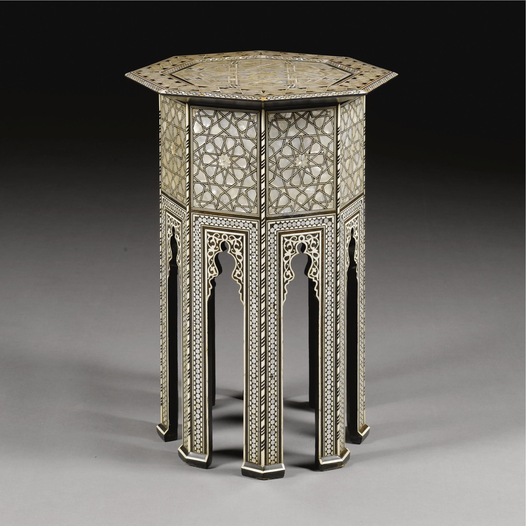 An Ottoman mother of pearl and ebony inlaid octagonal coffee table