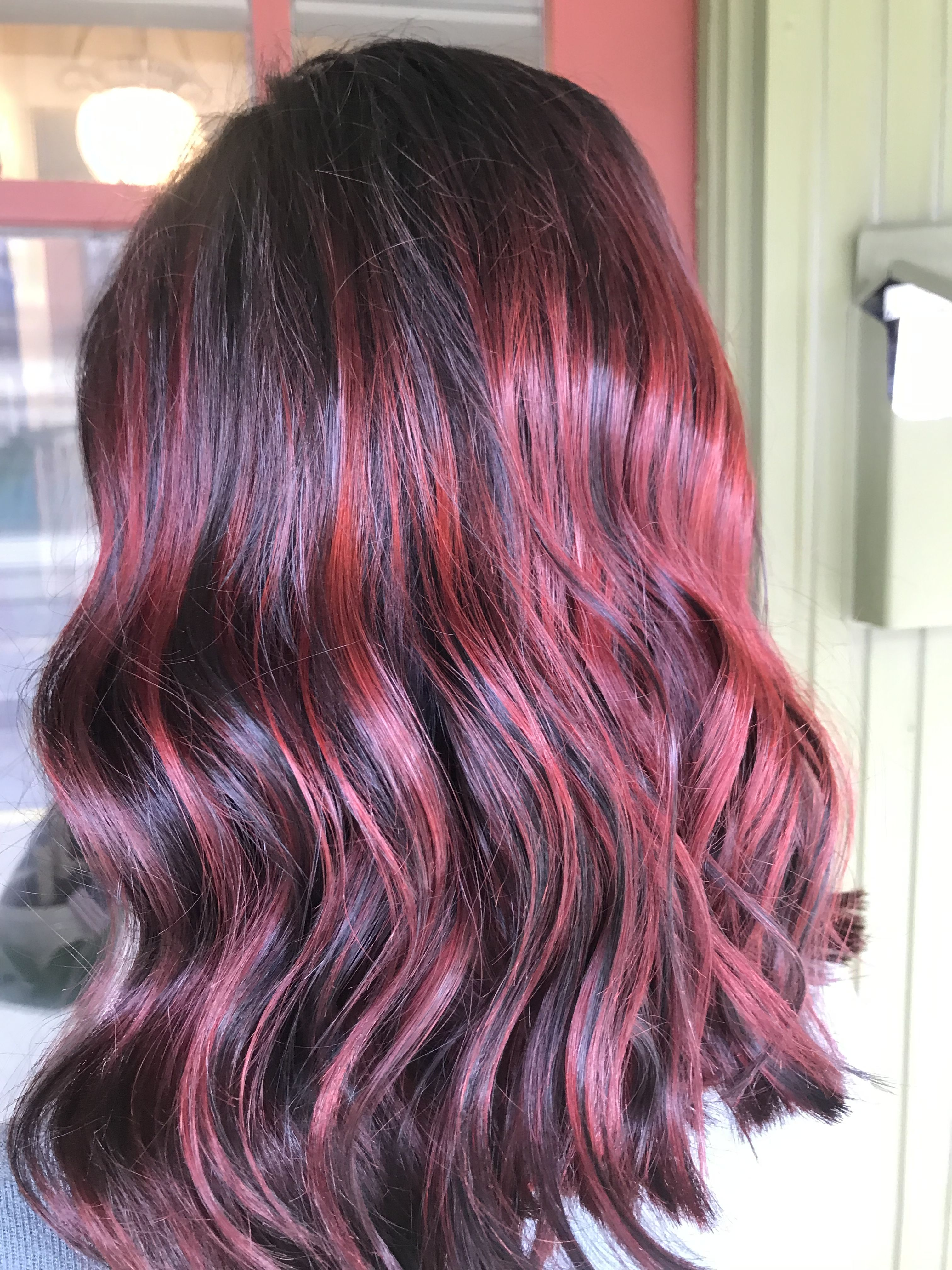 Red Ombre With Black Long Hair Styles