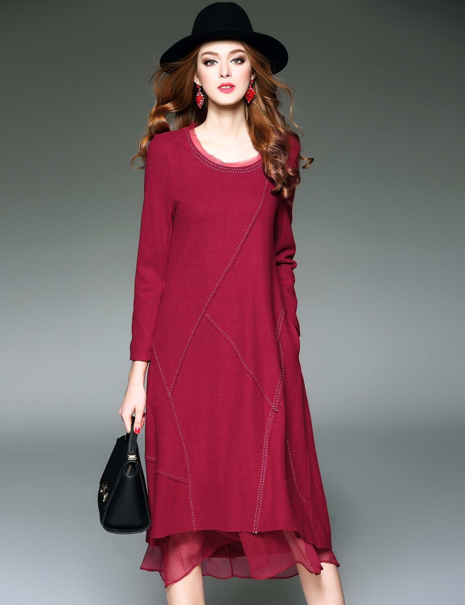 Black d fanni oneck long sleeve patchwork contrast color casual