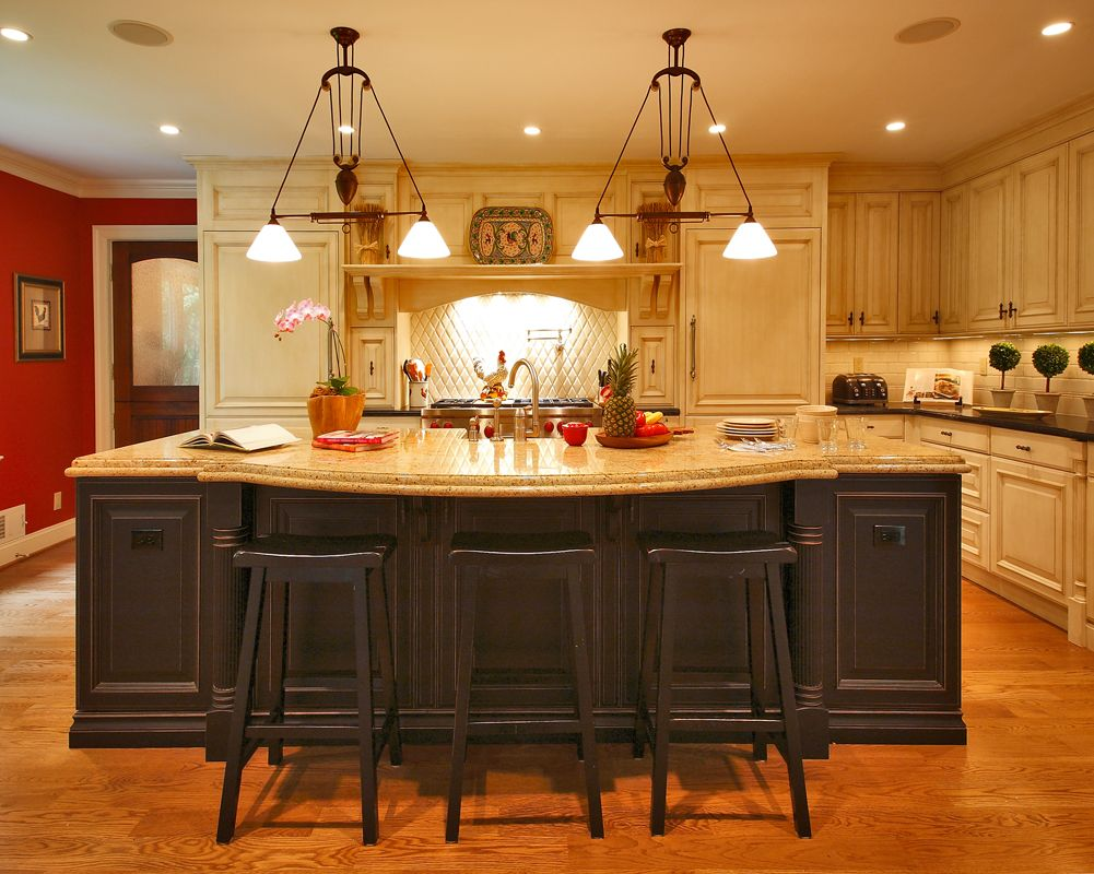 A true eat-in island bar. Painted distressed black ...