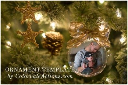 Shop Colorvale Products For Photographers Ornament Template Holiday Photoshop Template