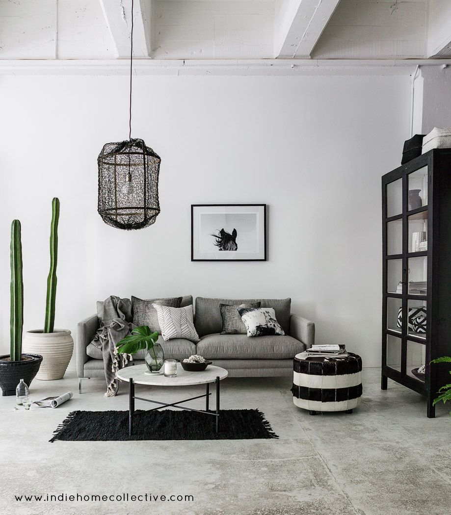 Monochrome lounge styling photography indie home for Monochrome interior design ideas