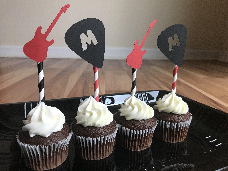 Rockstar Cupcakes Guitar Pick Cupcakes Rock N Roll Music Party Rock Star Baby Shower Rock Rock And Roll Birthday Rockstar Birthday Party Rockstar Birthday