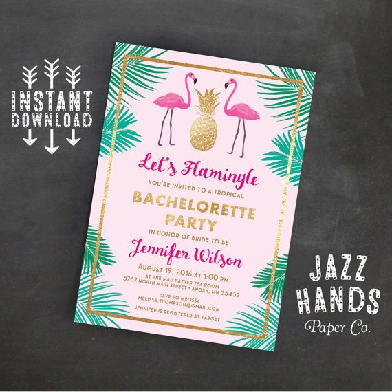 LetS Flamingle Printable Bachelorette Invitation Template