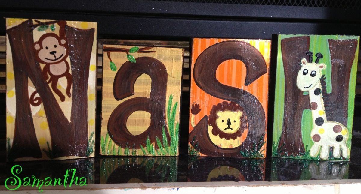 I painted these shelf sitter baby name blocks to match the nursery bedding theme